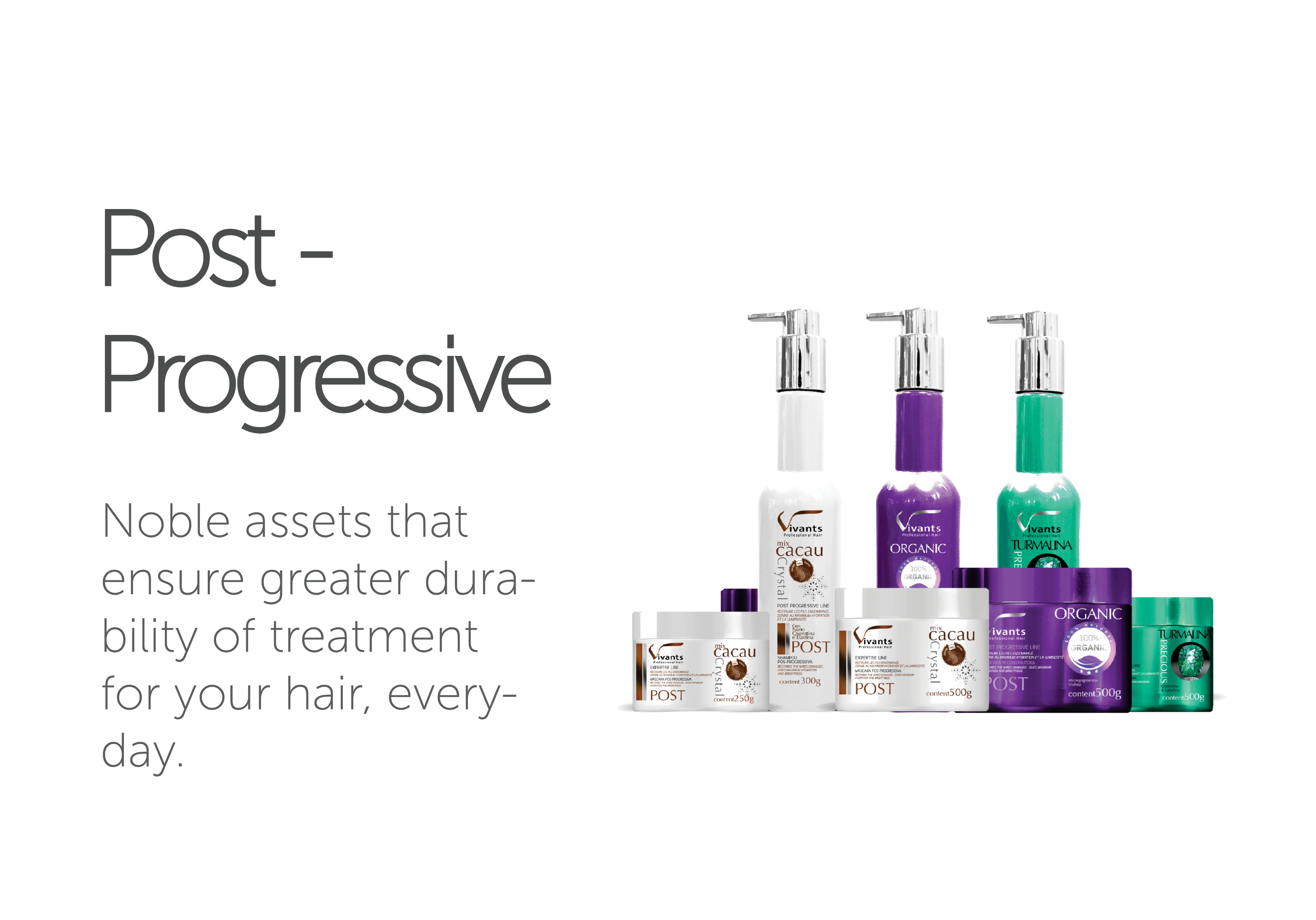Post-Progressive Vivants Professional Hair's line of Post-Progressive Products.