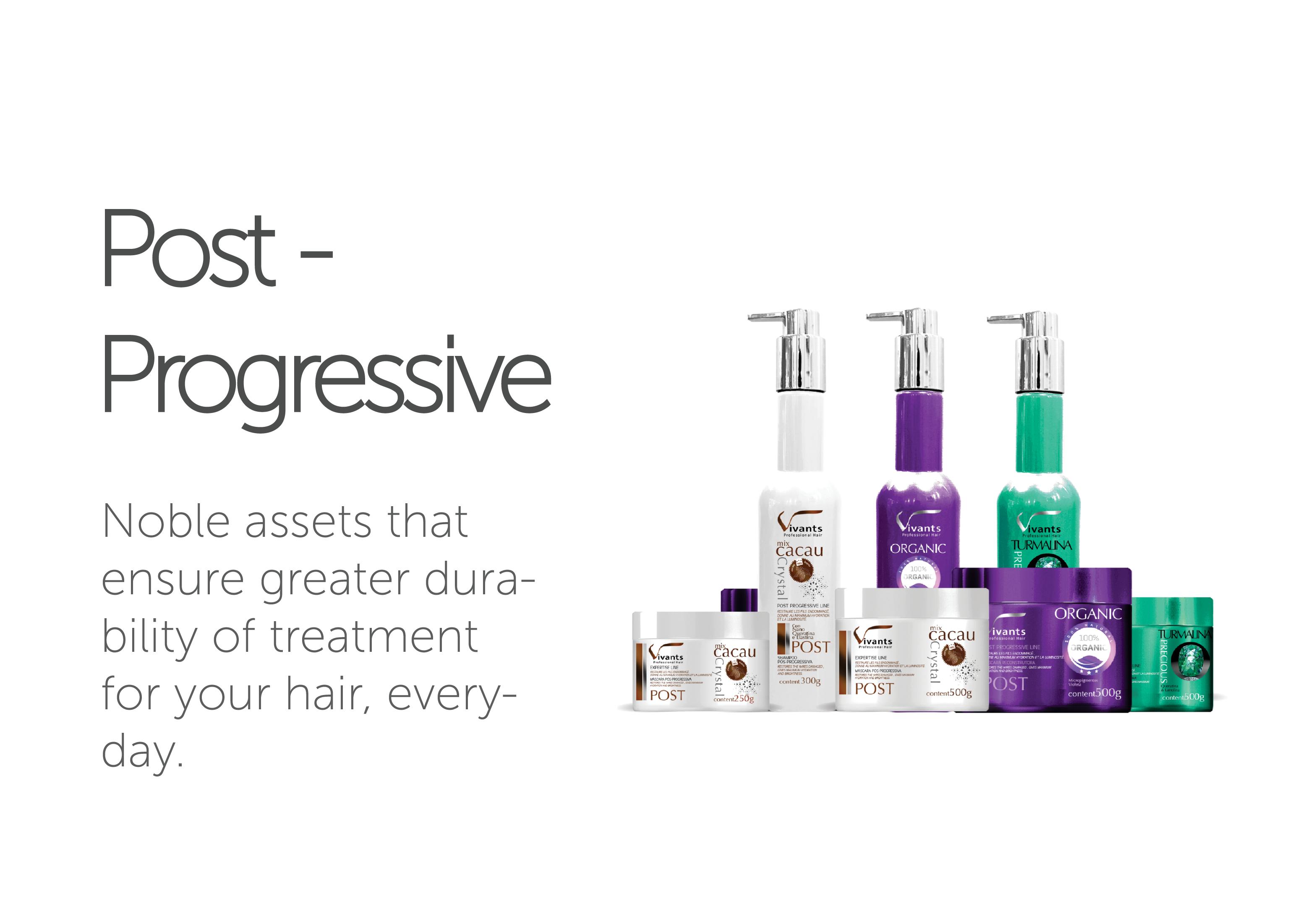 Post-Progressive Vivants Professional Hair's line of Post-Progressive Products.